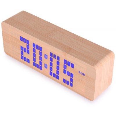 Blue Light LED Wooden Electronic Alarm Clock