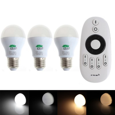 3 x Zweihnder E27 6W Dimmable Remote Controlled Bulb Lamp + RF Remote Controller