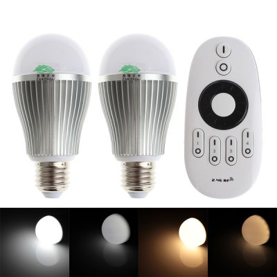 2 x Zweihnder E27 9W Dimmable Remote Controlled Bulb Lamp + RF Remote Controller
