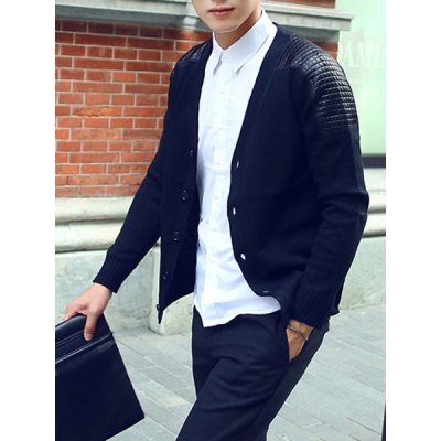 Гаджет   Casual Style V-Neck Slimming PU Leather Splicing Solid Color Long Sleeves Men