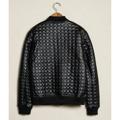 Гаджет   Stylish Stand Collar Slimming Polka Dots Embossing Long Sleeve Thicken PU Leather Coat For Men Jackets & Coats