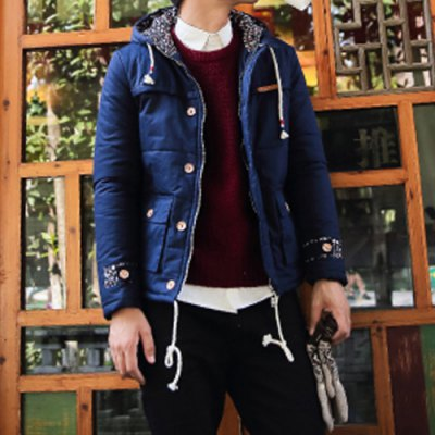 Гаджет   Stylish Hooded Slimming Button Design Tiny Floral Splicing Long Sleeve Thicken Cotton Blend Coat For Men Jackets & Coats