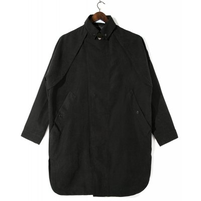 Гаджет   Loose Fit Turn-down Collar Solid Color Button Embellished Long Sleeves Men