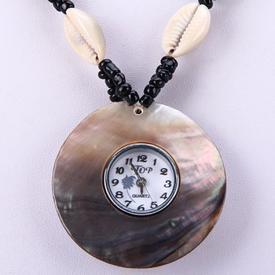 Гаджет   Female Quartz Watch A Shell Necklace with Beads Chain Round Dial Women