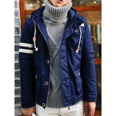 Гаджет   Stylish Hooded Slimming Stripe Letter Print Button Design Long Sleeve Thicken Cotton Blend Coat For Men Jackets & Coats