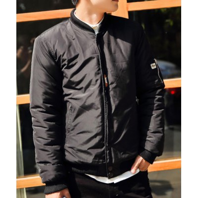 Гаджет   Stylish Stand Collar Slimming Rib Splicing Zipper Design Long Sleeve Thicken Cotton Blend Coat For Men Jackets & Coats