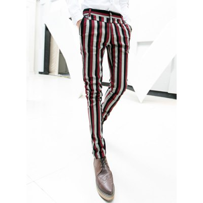 Гаджет   Personality Colorful Stripes Print Zipper Fly Button Embellished Slimming Narrow Feet Men