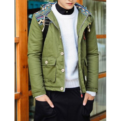 Гаджет   Stylish Hooded Slimming Button Design Ethnic Ripple Splicing Long Sleeve Thicken Cotton Blend Coat For Men Jackets & Coats