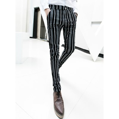 Гаджет   Modern Style Zipper Fly Personality Stripes Print Narrow Feet Men