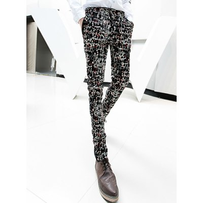 Гаджет   Stylsih Zipper Fly Colorful Abstract Print Slimming Pocket Embellished Narrow Feet Men