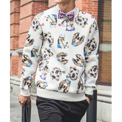 Гаджет   Trendy Round Neck Loose Fit Cartoon Dog Print Long Sleeves Men