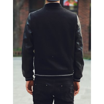 Гаджет   Stylish Stand Collar Slimming PU Leather Splicing Letter Embroidered Long Sleeve Woolen Blend Coat For Men Jackets & Coats
