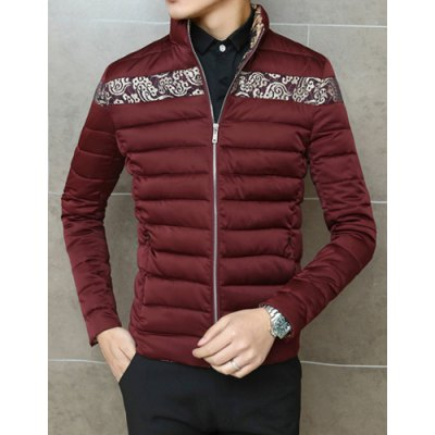 Гаджет   Stylish Stand Collar Slimming Color Block Ethnic Pattern Design Long Sleeve Thicken Cotton Blend Coat For Men Jackets & Coats