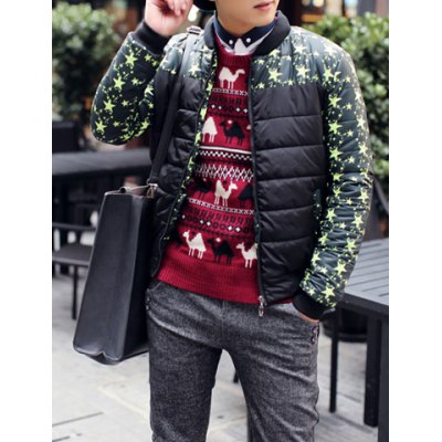 Гаджет   Trendy Color Block Five-Pointed Star Print Splicing Stand Collar Slimming Long Sleeves Men