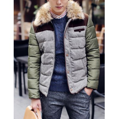 Slimming Fashion Color Block Fur Collar Breast Pocket Embellished Long Sleeves Mens CoatMens Jakets &amp; Coats<br>Slimming Fashion Color Block Fur Collar Breast Pocket Embellished Long Sleeves Mens Coat<br><br>Clothes Type: Down &amp; Parkas<br>Material: Polyester, Cotton<br>Collar: Mandarin Collar<br>Clothing Length: Regular<br>Style: Fashion<br>Weight: 1KG<br>Sleeve Length: Long Sleeves<br>Season: Winter<br>Package Contents: 1 x Coat