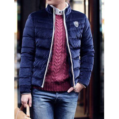 Гаджет   Laconic Stand Collar Color Block Purfle Slimming Badge Embellished Long Sleeves Men