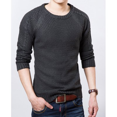 Гаджет   Stylish Round Neck Slimming Solid Color Kink Long Sleeve Thicken Cotton Blend Sweater For Men