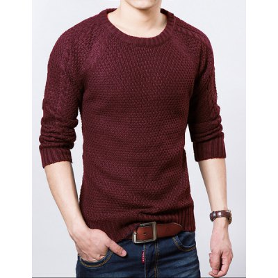 Гаджет   Stylish Round Neck Slimming Solid Color Kink Long Sleeve Thicken Cotton Blend Sweater For Men Sweaters & Cardigans