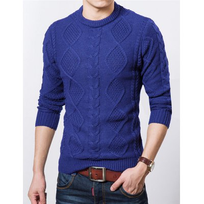 Гаджет   Stylish Round Neck Slimming Solid Color Argyle Kink Long Sleeve Thicken Cotton Blend Sweater For Men Sweaters & Cardigans