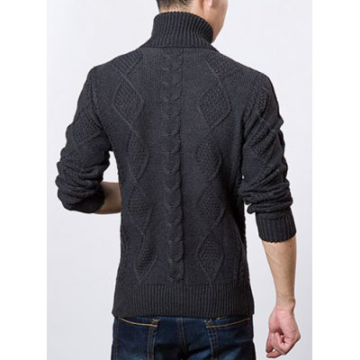 Фотография Stylish Turtle Neck Slimming Solid Color Argyle Kink Long Sleeve Thicken Cotton Blend Sweater For Men