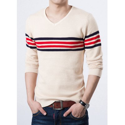 Гаджет   Stylish V-Neck Slimming Color Block Stripes Jacquard Long Sleeve Thicken Cotton Blend Sweater For Men Sweaters & Cardigans