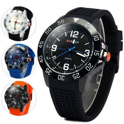 Curren 8181 Men Quartz Watch Round Dial Rubber BandMens Watches<br>Curren 8181 Men Quartz Watch Round Dial Rubber Band<br><br>Brand: Curren<br>Watches categories: Male table<br>Watch style: Fashion<br>Available color: White, Orange, Blue, Black<br>Movement type: Quartz watch<br>Shape of the dial: Round<br>Display type: Analog<br>Case material: Stainless steel<br>Band material: Rubber<br>Clasp type: Pin buckle<br>Water Resistance: Life water resistant<br>The dial thickness: 1.4 cm / 0.6 inches<br>The dial diameter: 5.0 cm / 2.0 inches<br>The band width: 2.3 cm / 0.9 inches<br>Product weight: 0.089 kg<br>Product size (L x W x H): 26 x 5.0 x 1.4 cm / 10.2 x 3.0 x 0.6 inches<br>Package Contents: 1 x Watch