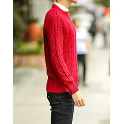 Гаджет   Laconic Round Neck Solid Color Slimming Knitting Jacquard Long Sleeves Men