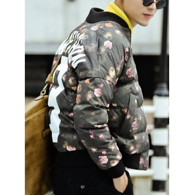Гаджет   Laconic Stand Collar Flower and Letters Print Loose Fit Rib Splicing Long Sleeves Men