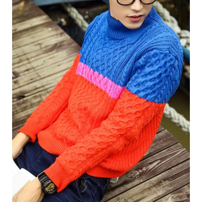 Гаджет   Slimming Turtleneck Fashion Color Splicing Knitting Jacquard Long Sleeves Men