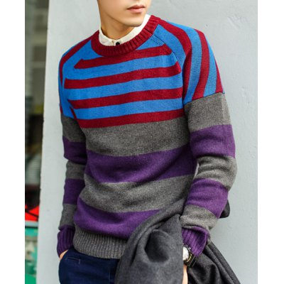 Гаджет   Street Style Round Neck Stripes Print Slimming Color Splicing Long Sleeves Men