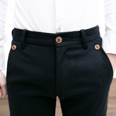 Гаджет   Slimming Stylish Solid Color Buttons Design Narrow Feet Thicken Cotton Blend Pants For Men