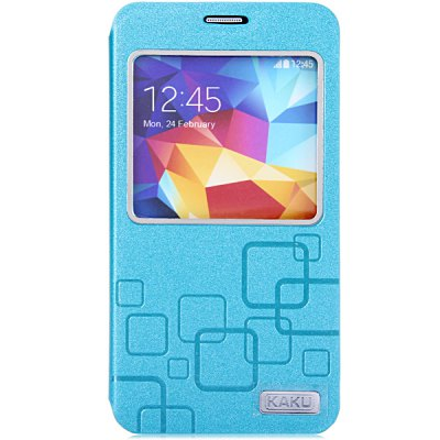 KAKU Practical PC and PU Cover Case for Samsung Galaxy S5 i9600 SM - G900Samsung Cases/Covers<br>KAKU Practical PC and PU Cover Case for Samsung Galaxy S5 i9600 SM - G900<br><br>Compatible for Sumsung: Samsung Galaxy S5 i9600 SM-G900<br>Features: Full Body Cases, Cases with Stand, With View Window<br>Material: Plastic, PU Leather<br>Style: Special Design<br>Color: Blue, Green, Black, Pink, White<br>Product weight: 0.051 kg<br>Package weight: 0.102 kg<br>Product size (L x W x H) : 14.5 x 7.6 x 1.4 cm / 5.7 x 3.0 x 0.6 inches<br>Package size (L x W x H): 19.5 x 9.5 x 2 cm<br>Package Contents: 1 x Case