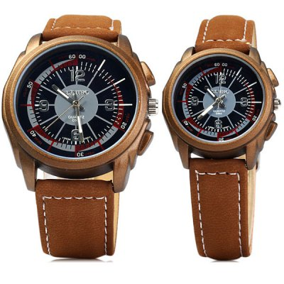 Гаджет   Diniho 1123 Quartz Watch Round Dial Leather Watchband for Lover Couple