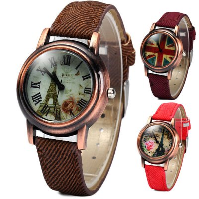 Retro Quartz Watch Round Dial Cloth + Leahter Strap for LadiesWomens Watches<br>Retro Quartz Watch Round Dial Cloth + Leahter Strap for Ladies<br><br>Watches categories: Female table<br>Available color: Red, Purple, Brown<br>Style : Retro<br>Movement type: Quartz watch<br>Shape of the dial: Round<br>Display type: Analog<br>Case material: Alloy<br>Case color: Coppery<br>Band material: Cloth leather<br>Clasp type: Pin buckle<br>The dial thickness: 1.0 cm / 0.4 inches<br>The dial diameter: 3.4 cm / 1.6 inches<br>The band width: 1.4 cm / 0.6 inches<br>Product weight: 0.030 kg<br>Product size (L x W x H) : 23.5 x 3.4 x 1.0 cm / 9.3 x 1.6 x 0.4 inches<br>Package contents: 1 x Watch