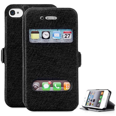 Practical PC and PU Material Cover Case for iPhone 4 4SiPhone Cases/Covers<br>Practical PC and PU Material Cover Case for iPhone 4 4S<br><br>Compatible for Apple: iPhone 4/4S<br>Features: Full Body Cases, Cases with Stand, With View Window<br>Material: PU Leather, Plastic<br>Style: Special Design<br>Color: Light blue, Black, White, Champagne gold, Pink, Rose<br>Product weight : 0.035 kg<br>Package weight : 0.076 kg<br>Product size (L x W x H): 11.8 x 6.5 x 1.3 cm / 4.6 x 2.6 x 0.5 inches<br>Package contents: 1 x Case