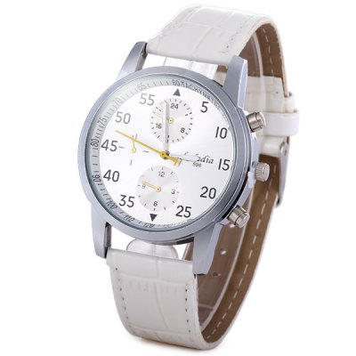Kaladia 596 Quartz Watch Round Dial Leather Strap for Men