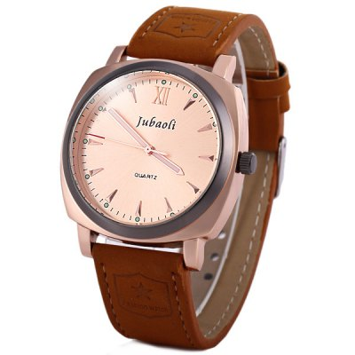 Гаджет   Jubaoli Men Quartz Watch Analog Round Dial Leather Band Men