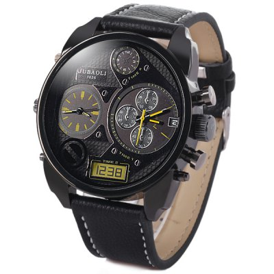 Jubaoli 1026 Male Quartz Watch Double Movt Date Round Dial Leather WristbandMens Watches<br>Jubaoli 1026 Male Quartz Watch Double Movt Date Round Dial Leather Wristband<br><br>Watches categories: Male table<br>Watch style: Trends in outdoor sports<br>Style elements: Stainless steel<br>Available color: White, Red, Blue, Black<br>Movement type: Double-movtz<br>Shape of the dial: Round<br>Display type: Analog<br>Case material: Stainless steel<br>Band material: Leather<br>Clasp type: Pin buckle<br>Special features: Date, Working small two stitches, Decorating small sub-dials<br>Water Resistance: Life water resistant<br>The dial thickness: 1.1 cm / 0.5 inches<br>The dial diameter: 5.0 cm / 2.0 inches<br>The band width: 2.2 cm / 0.9 inches<br>Product weight: 0.07 kg<br>Product size (L x W x H): 25.8 x 5.0 x 1.1 cm / 10.2 x 2.0 x 0.5 inches<br>Package Contents: 1 x Watch