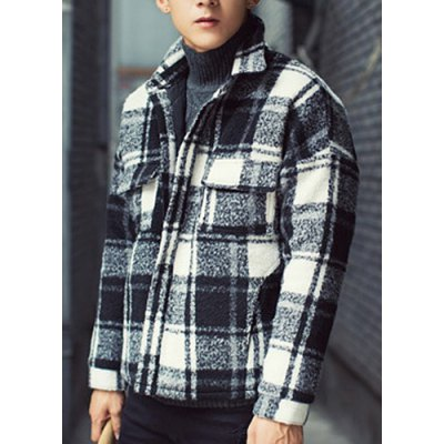 Гаджет   Stylish Turndown Collar Slimming Tartan Design Long Sleeve Thicken Woolen Blend Coat For Men Jackets & Coats