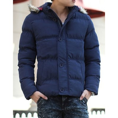 Гаджет   Trendy Hooded Slimming Button Embellished Solid Color Long Sleeves Men