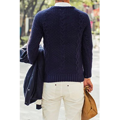 Гаджет   Stylish Round Neck Slimming Kink Design Solid Color Long Sleeve Thicken Cotton Blend Sweater For Men Sweaters & Cardigans
