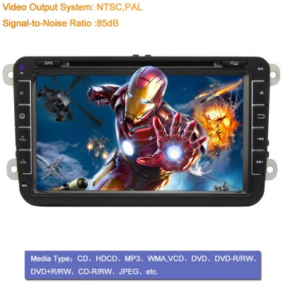 8 inch 2 Din TFT Screen In - Dash Car DVD Player with Bluetooth Radio iPod GPS ATV Functions for VolkswagenCar DVD Player<br>8 inch 2 Din TFT Screen In - Dash Car DVD Player with Bluetooth Radio iPod GPS ATV Functions for Volkswagen<br><br>Type  : 2-DIN<br>Material: Electronic Components, Plastic<br>Installation Site : In-Dash<br>Special Function  : TV Function, IPOD Function, Network, AM/FM Radio, GPS<br>Apply to Car Brand : Volkswagen<br>Screen Type: Digital touch screen<br>Screen Size : 8inch<br>Screen Resolution : 800 x 480<br>AM/FM Radio: support RDS function<br>DVD Video Format: MPEG, AVI<br>USB/SD Video Format: AVI<br>DVD Audio Format: WMA, MP3<br>USB/SD Audio Format: MP3, WAV<br>Picture Format: JPEG<br>USB/SD Picture Format: JPEG<br>Media Format : Video CD, MP3, WMA, CD, JPEG, DVD-R/RW, AVI, DVD-RAM<br>TV Function: Analog TV<br>Network : WiFi Dongle<br>OSD Language: Russian, German, Japanse, Italian, Spanish, Chinese, etc, Turkish, English, French, Arabic, Portuguese<br>Product weight   : 3.20 kg<br>Package weight   : 4.00 kg<br>Product size (L x W x H)  : 21 x 13 x 15 cm / 8.3 x 5.1 x 5.9 inches<br>Package size (L x W x H)  : 30 x 26 x 26 cm<br>Package Contents: 1 x DVD Host, 1 x Remote Control, 1 x GPS Antenna, 1 x User Manual, 1 x USB Cable, 1 x Power Cable, 1 x iPod Cable