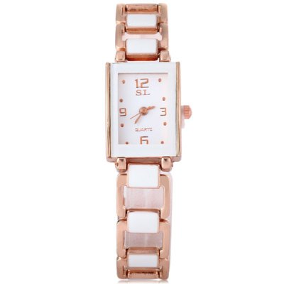 SL Quartz Watch Steel + Ceramic Band Rectangle Dial for WomenWomens Watches<br>SL Quartz Watch Steel + Ceramic Band Rectangle Dial for Women<br><br>Watches categories: Female table<br>Available color: White<br>Style : Fashion&amp;Casual<br>Movement type: Quartz watch<br>Shape of the dial: Rectangle<br>Display type: Analog<br>Case material: Stainless steel<br>Band material: The other<br>Clasp type: Sheet folding clasp<br>The dial thickness: 1.0 cm / 0.4 inches<br>The dial diameter: 1.8 cm / 0.7 inches<br>The band width: 1.2 cm / 0.5 inches<br>Product weight: 0.033 kg<br>Product size (L x W x H) : 19.5 x 1.8 x 1.0 cm / 7.7 x 0.7 x 0.4 inches<br>Package contents: 1 x Watch