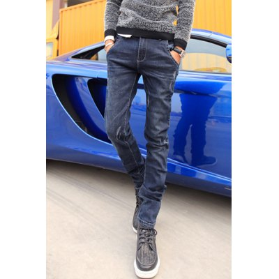 Гаджет   Slimming Zipper Fly PU Leather and Button Embellished Bleach Wash Narrow Feet Men