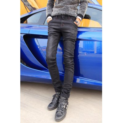 Гаджет   Fashionable Zipper Fly Personality Color Splicing Bleach Wash Narrow Feet Men