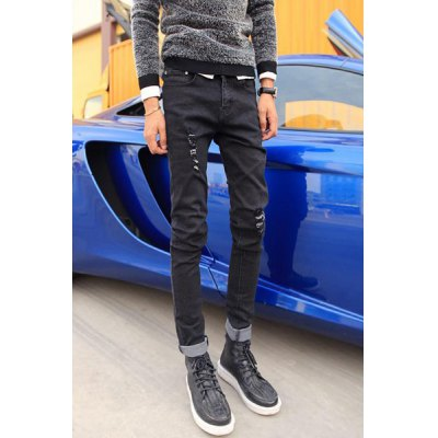 Гаджет   Fashion Style Zipper Fly Hole Embellished Slimming Solid Color Narrow Feet Men