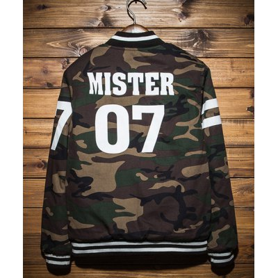 Гаджет   Camouflage Style Stand Collar Letters Print Slimming Long Sleeves Men