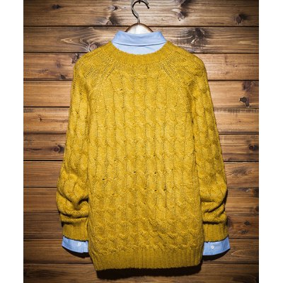 Гаджет   Laconic Round Neck Slimming Solid Color Knitting Jacquard Long Sleeves Men