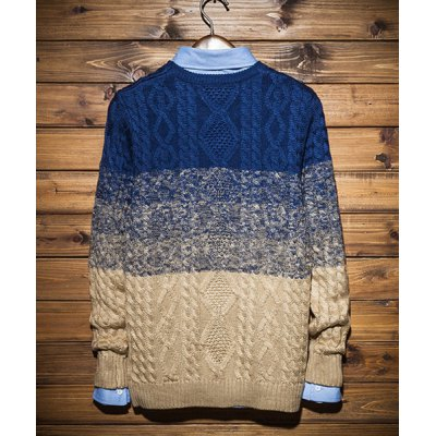 Гаджет   Slimming Color Block Ombre Round Neck Knitting Jacquard Long Sleeves Men