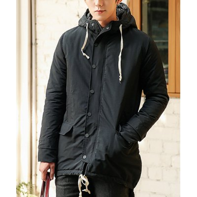 Гаджет   Stylish Hooded Slimming Solid Color Irregular Design Long Sleeve Thicken Cotton Blend Coat For Men Jackets & Coats